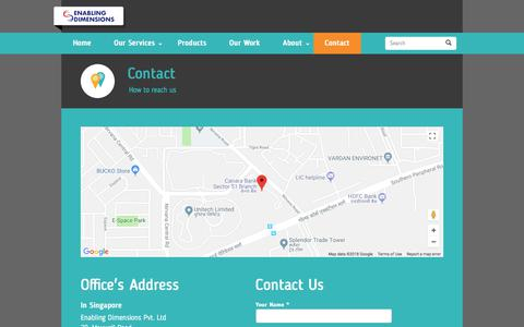 Screenshot of Contact Page enablingdimensions.com - contact Us | Enabling Dimensions - captured July 19, 2018