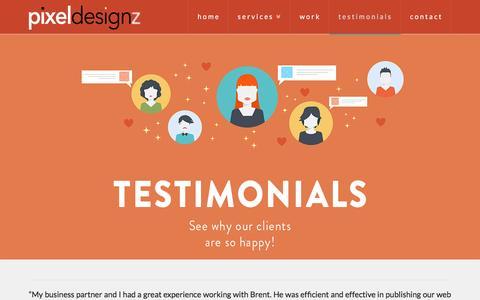 Screenshot of Testimonials Page pixeldesignz.com - testimonials | - captured July 13, 2016