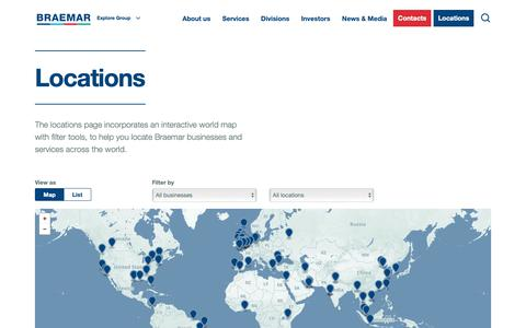 Screenshot of Locations Page braemar.com - Locations – Braemar Shipping Services PLC - captured Oct. 6, 2018