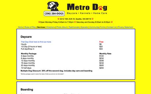 Screenshot of Services Page metrodogseattle.com - Metro Dog Services - captured Oct. 27, 2014