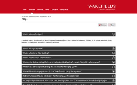 Screenshot of FAQ Page wakefieldspropertymanagement.co.za - Property Management Information | Wakefields Property Management - captured Feb. 19, 2016