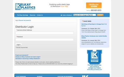 Screenshot of Login Page elkayplastics.com - User account | Elkay Plastics - captured Nov. 4, 2014