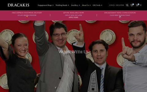 Screenshot of Jobs Page dracakis.com.au - Work With Us - Dracakis Jewellers   Online Jewellers in Brookvale & Mosman - captured Nov. 14, 2018