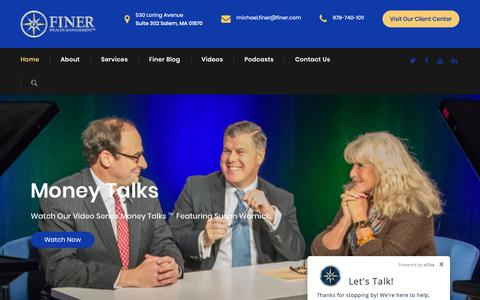 Screenshot of Home Page finer.com - Finer Wealth Management – Investment | Financial Planning | Tax | Family Office - captured Nov. 12, 2018