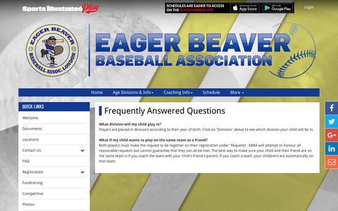Screenshot of FAQ Page ebba.ca - FAQ - captured July 12, 2017