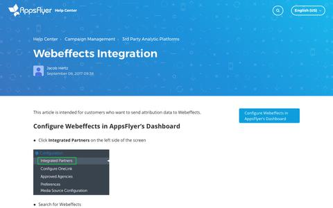 Webeffects Integration – Help Center