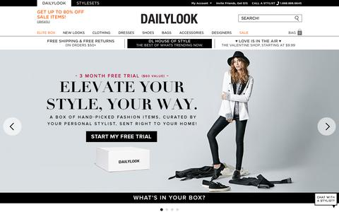 Screenshot of Home Page dailylook.com - DAILYLOOK is a fashion brand experience powered by real personal stylists leveraging our technology platform. Try it FREE for 3 months. - captured Jan. 22, 2015