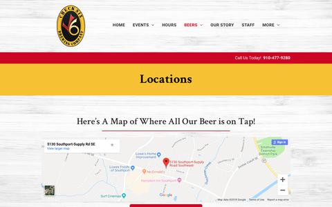 Screenshot of Locations Page checksixbeer.com - Check Six Brewing Company - Southport, NC - Locations - captured Dec. 18, 2018
