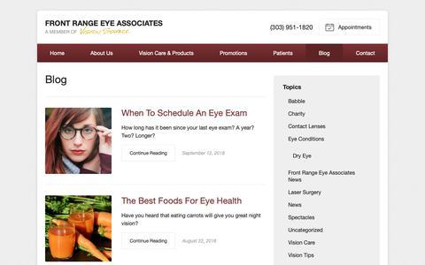 Screenshot of Blog visionsource-frea.com - Front Range Eye Associates Blog - Eye Care Info and Company News - captured Oct. 11, 2018