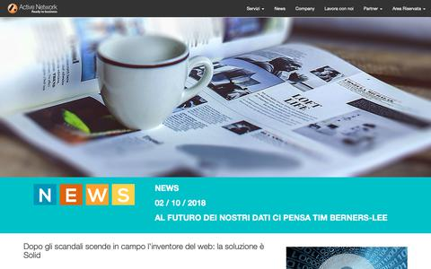 Screenshot of Press Page activenetwork.it - Active Network - Servizi Adsl, VoIP - Beactive.it - Offerte Adsl, Offerte adsl più telefono, VoIP, Servizi Internet Business e consumer, telefonia, cps - captured Oct. 3, 2018