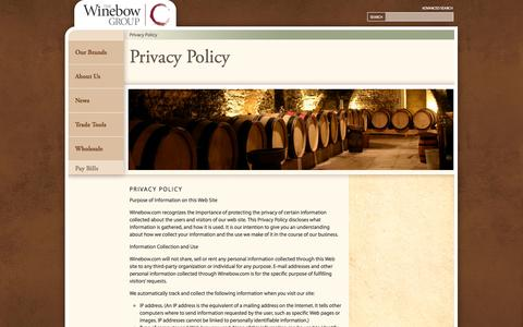 Screenshot of Privacy Page winebow.com - Privacy Policy - Winebow - captured Sept. 19, 2014