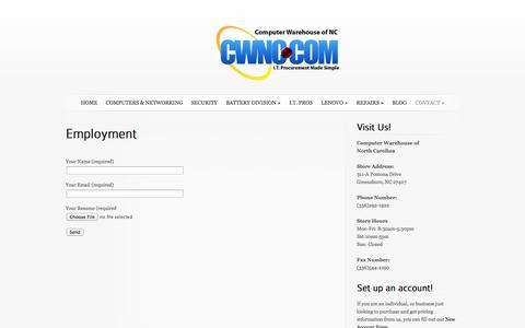 Screenshot of Jobs Page cwnc.com - Employment - captured Oct. 2, 2014