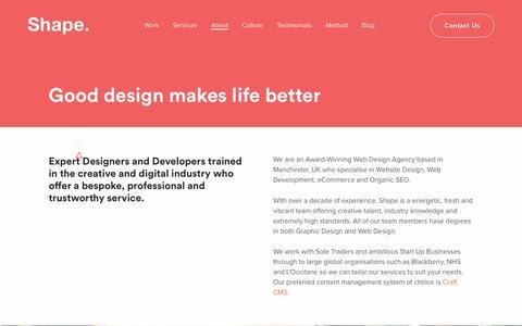 Screenshot of About Page madebyshape.co.uk - About Shape Design Studio Manchester | MadeByShape - captured July 8, 2019