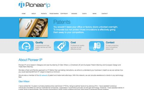 Screenshot of About Page pioneerip.com - Pioneer IP - About Us - captured Oct. 2, 2014