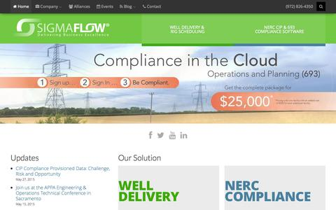 Screenshot of Home Page sigmaflow.com - The SigmaFlow Difference - captured June 16, 2015