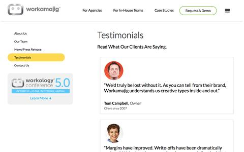 Screenshot of Testimonials Page workamajig.com - Testimonials - captured June 25, 2016