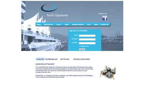 Screenshot of Team Page pacificopportunity.com - Leadership - captured Oct. 1, 2014