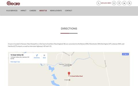 Screenshot of Maps & Directions Page creare.com - DIRECTIONS – Creare - captured May 22, 2017
