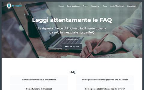 Screenshot of FAQ Page nostudio.it - Supporto   NoStudio – Professional web agency Genova - captured Sept. 22, 2018