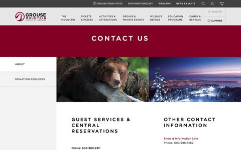 Screenshot of Contact Page grousemountain.com - Contact Us  | Grouse Mountain - The Peak of Vancouver - captured May 25, 2017