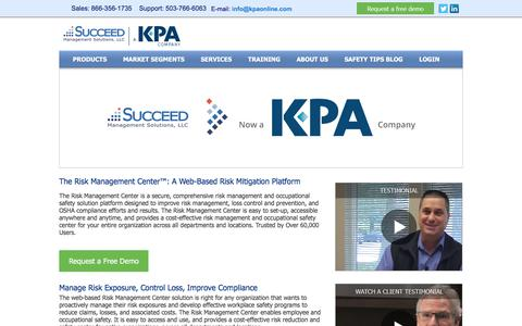 Screenshot of Home Page succeedms.com - Risk Management Center , Software and Solutions | Risk Assessment and ControlSucceed Management Solutions | A KPA Company - captured July 19, 2019
