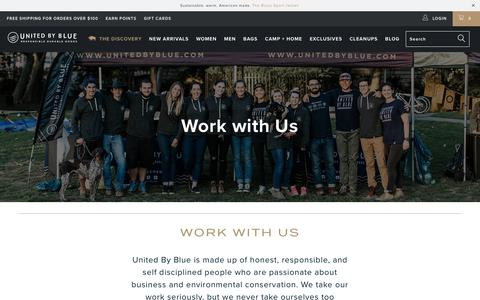 Screenshot of Jobs Page unitedbyblue.com - Work with Us - United By Blue - captured Nov. 1, 2017