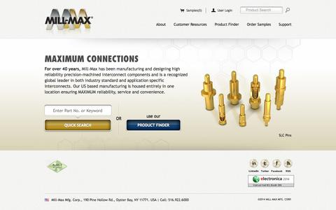 Screenshot of Home Page mill-max.com - Mill-Max Mfg. Corp. - Machined Interconnect Solutions - captured Sept. 19, 2014