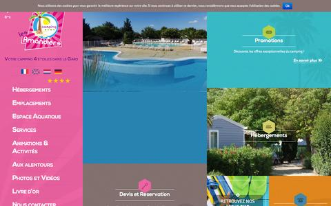 Screenshot of Home Page camping-lesamandiers.fr - Camping Gard 4 étoiles | Camping Les Amandiers Camargue - captured Oct. 16, 2015