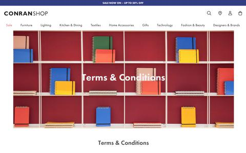 Screenshot of Terms Page conranshop.co.uk - The Conran Shop Terms & Conditions - The Conran Shop - captured Dec. 27, 2019