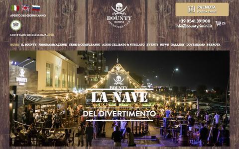 Screenshot of Home Page bountyrimini.it - Bounty Rimini: ristorante, pizzeria,disco pub a Rimini Marina Centro | Bounty Rimini - captured Oct. 28, 2018