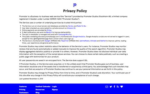Screenshot of Privacy Page promoterapp.com - Promoter – Track press mentions and distribute promo codes - captured Feb. 21, 2016