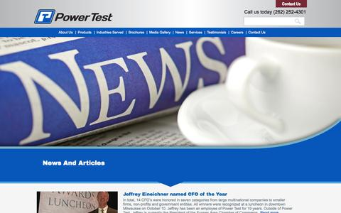 Screenshot of Press Page pwrtst.com - Power Test Company News | Power Test Dynamometers - captured Nov. 2, 2014