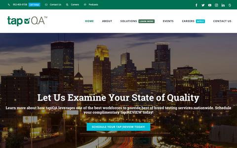 Screenshot of Home Page tapqa.com - tap|QA Software Quality Testing Consulting, Continuous Integration - captured Oct. 2, 2018