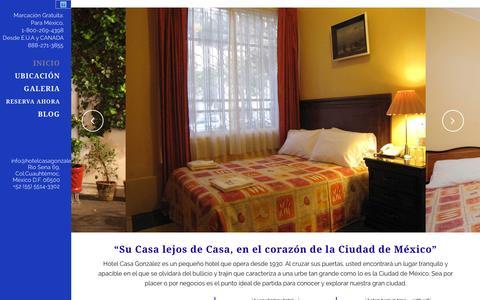 Screenshot of Home Page hotelcasagonzalez.com - Hotel Casa González   Su Casa lejos de Casa, en el corazón de la Ciudad de México - captured Jan. 26, 2016