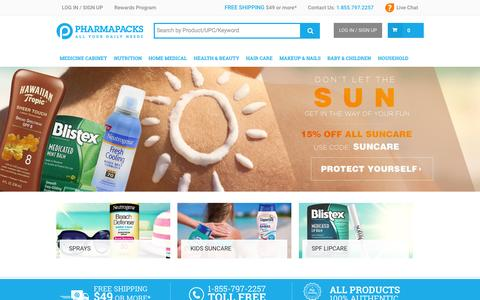 Screenshot of Home Page pharmapacks.com - Pharmapacks - Health & Beauty Marketplace - captured Sept. 20, 2015