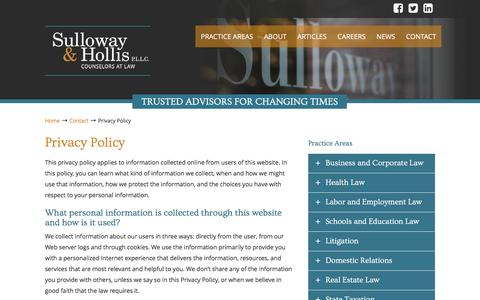 Screenshot of Privacy Page sulloway.com - Privacy Policy | Sulloway and Hollis P.L.L.C - captured Dec. 3, 2016