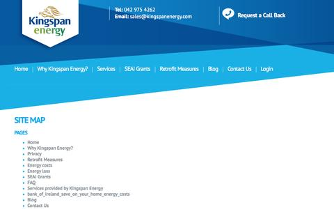 Screenshot of Site Map Page kingspanenergy.ie - Site Map   Kingspan Energy - captured Oct. 29, 2014