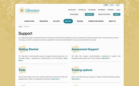 Screenshot of Support Page liberator.co.uk - Support - Liberator AAC (Augmentative and Alternative Communication)  - Communication Aids | Assistive Technology - captured Oct. 2, 2014