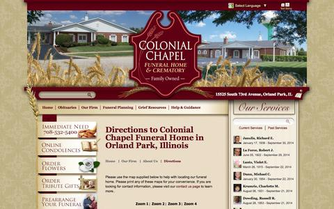 Screenshot of Maps & Directions Page colonialchapel.com - Directions to Colonial Chapel Funeral Home in Orland Park, Illinois - captured Oct. 3, 2014