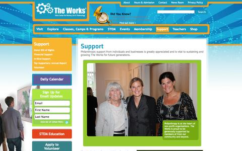 Screenshot of Support Page attheworks.org - Support The Works - captured Oct. 7, 2014