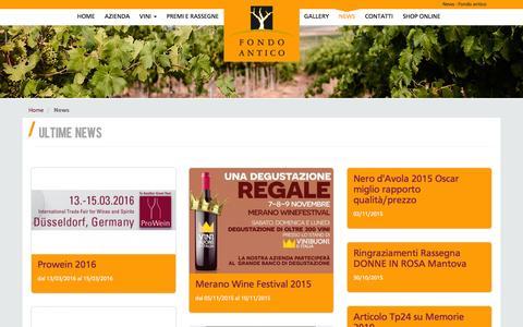 Screenshot of Press Page fondoantico.it - Tutte le News sull' azienda vitivinicola Fondo Antico - captured March 18, 2016