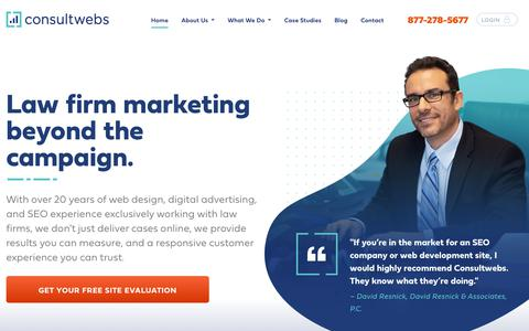 Screenshot of Home Page consultwebs.com - Lawyer Web Marketing: Helping Law Firms and Clients Connect - captured Oct. 4, 2019