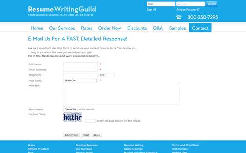 Screenshot of Contact Page resumewritingguild.com - Resume Writing - Contact Us | Resume Writing Guild - captured Jan. 11, 2016