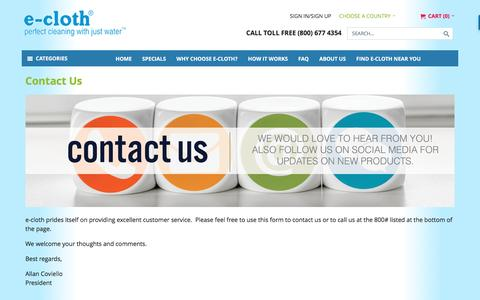 Screenshot of Contact Page ecloth.com - Contact Us - captured Dec. 5, 2016