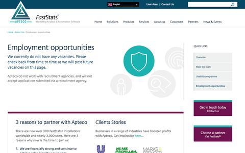 Screenshot of Jobs Page apteco.com - Employment opportunities | Apteco - captured Oct. 4, 2014