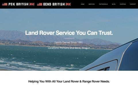 Screenshot of Home Page pdxbritish.com - PDX British / Bend British | Land Rover Repair, Range Rover Repair, Portland Oregon - captured Oct. 1, 2014