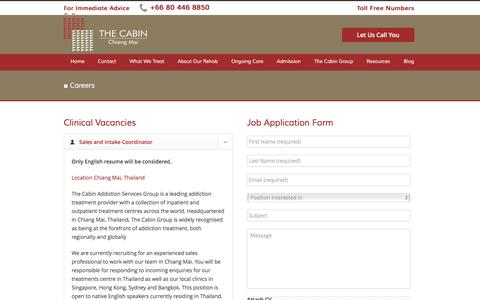 Screenshot of Jobs Page thecabinchiangmai.com - Careers at The Cabin Chiang Mai - captured Aug. 29, 2016
