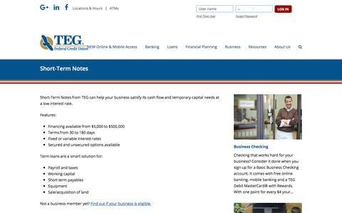 Screenshot of tegfcu.com - Short-Term Notes – TEG Federal Credit Union - captured Dec. 2, 2017