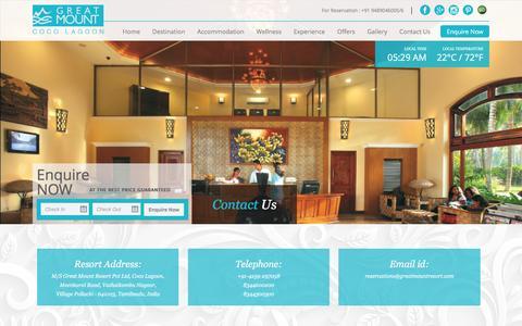 Screenshot of Contact Page greatmountresort.com - Great Mount Resort Coco Lagoon Pollachi - captured Jan. 29, 2016