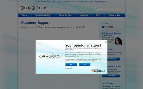 Screenshot of Support Page oraquick.com - OraQuick Support for In Home HIV Test Kit - captured Feb. 15, 2016